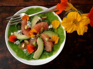 Friday Flowers: Nastursiums! Grapefruit-Avocado Salad Recipe