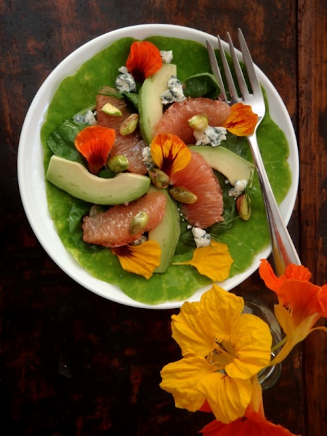 Grapefruit-Avocado Salad on a white plate with pretty yellow and orange flowers