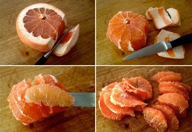 four photos of how to cut citrus