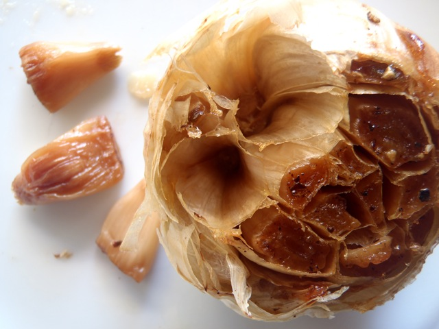 one head of roasted garlic with a few cloves removed