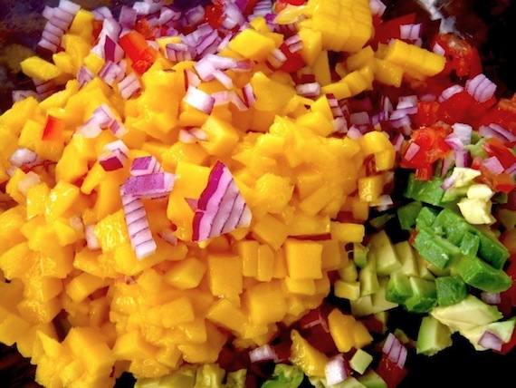 finely chopped mango, red onion, tomato and avocado for Mango Salsa