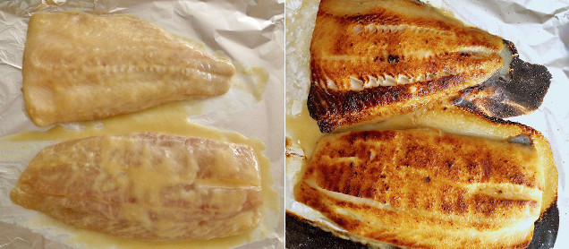 two images of cod, one raw in marinade and one golden and broiled