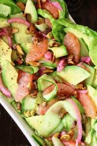 cucumber Avocado Salad with Grapefruit in white dish