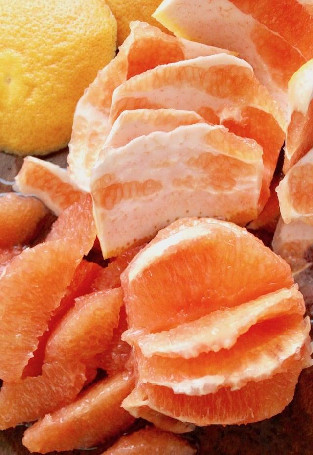 segments grapefruit and scraps