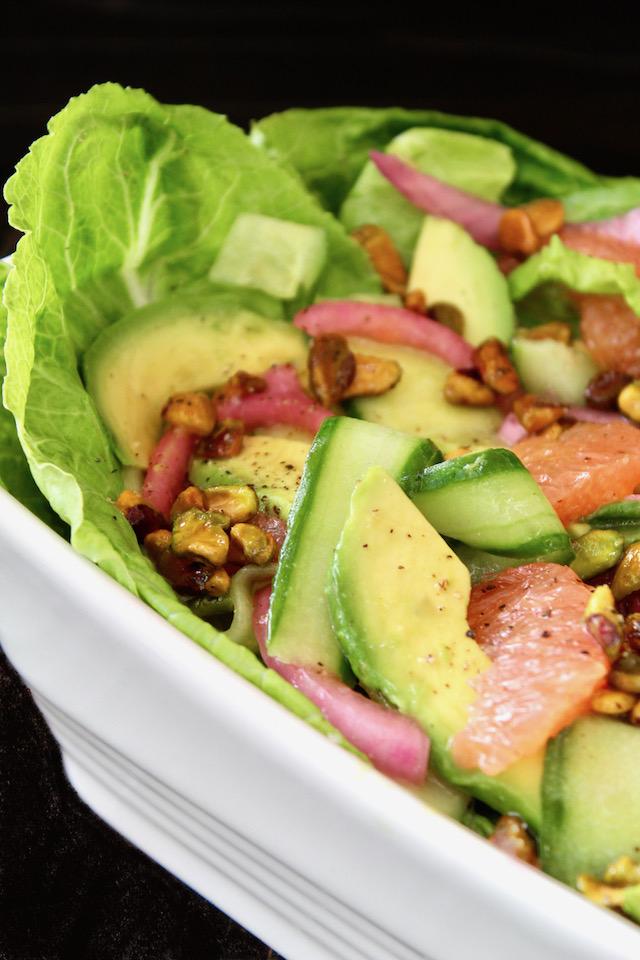 Cucumber Avocado Salad in white dish