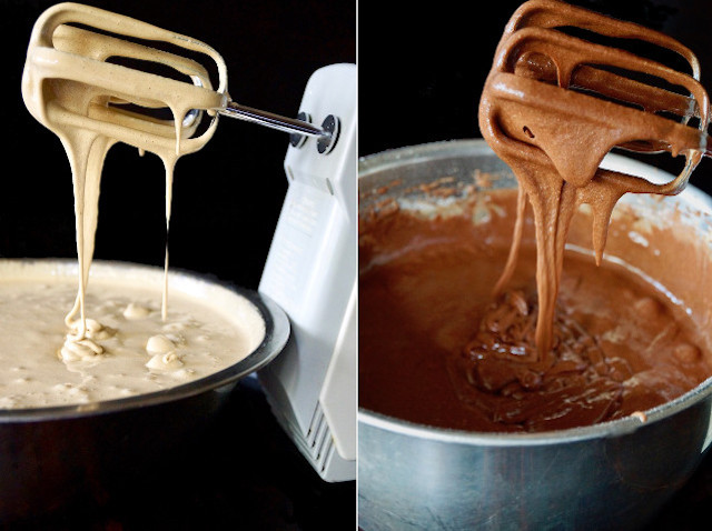 two bowls with electric mixer beaters dripping with batter into each one