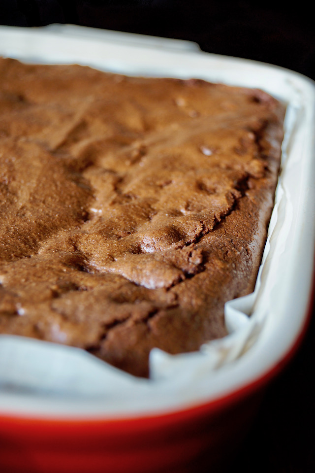 Gluten-Free Coconut Flour Brownies before being cut in the baking pan