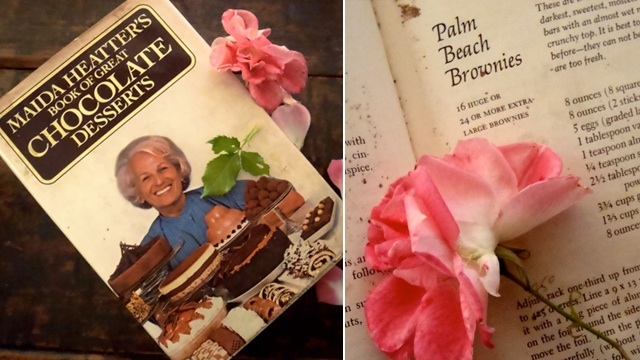 Maida Heatter's Book of Great Chocolate Desserts with a pink rose