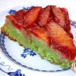 Almond Plum Up Side Down Pandan Cake | cookingontheweekends.com