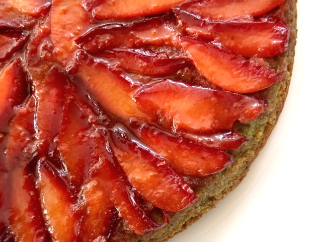 close up of the plums on the Upside Down Plum Cake
