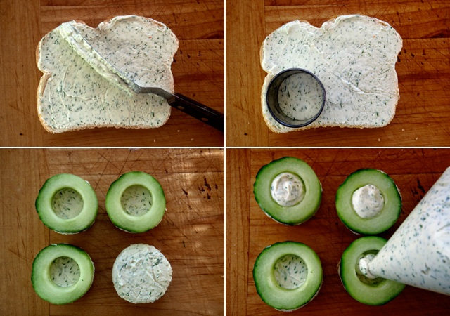 slices of bread with ceam cheese spread and bread rounds with cucumbers on top