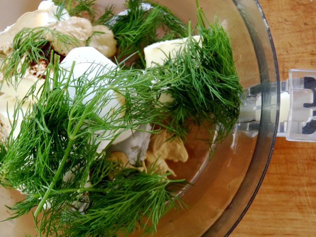 ingredients for Cucumber Dill Canapes in food processor
