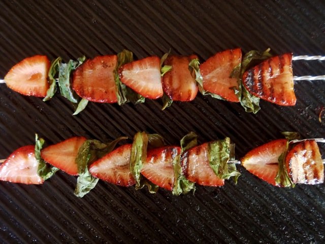 Grilled Strawberry Basil Kebab Recipe