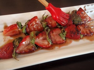 Grilled Strawberry Basil Kebabs with Honey-Balsamic Glaze | Cooking On The Weekends