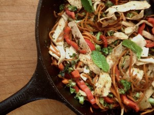 Vegetable Mint Sitr Fry with Tofu Noodles | Cooking On The Weekends