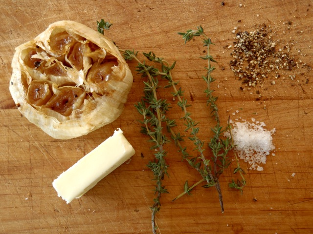 ingredients for Roasted Garlic Bread Recipe - garlic, butter, thyme