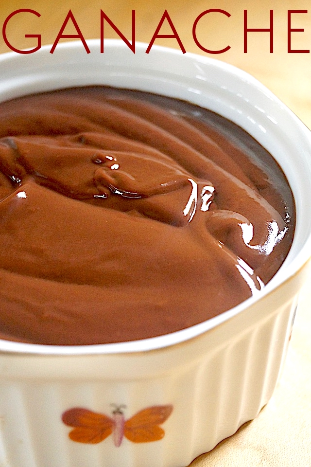 Ganache in a white ramekin