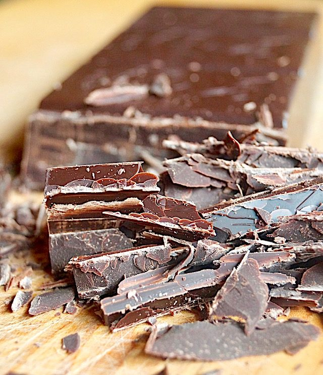 Bittersweet chocolate bar partially chopped