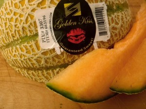 sllices and one whole Golden Kiss melon