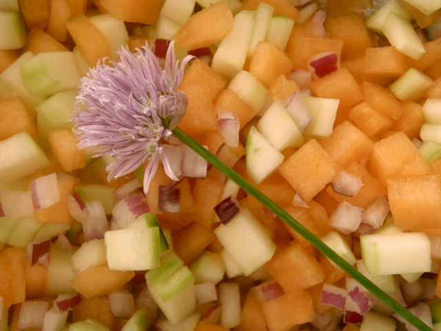 finely chopped melon, cucumber and red onion for Melon Gazpacho Recipe