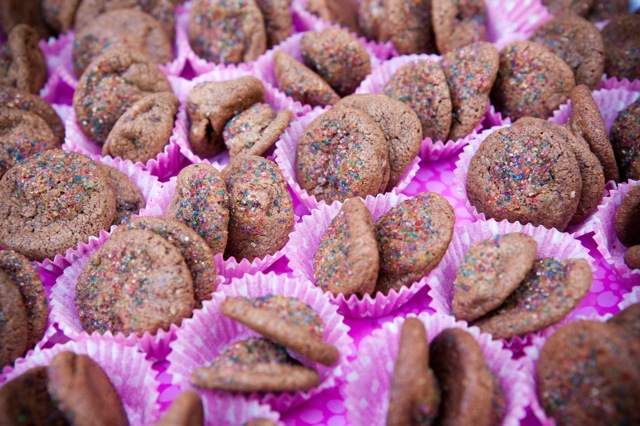 mini Double Chocolate Almond Spice Cookies in pretty pink cupcake papers