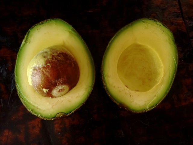 avocado sliced in half, pit in one half