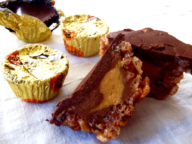 Reese's Peanut Butter Cup-Chocolate Rice Krispie Treat Recipe