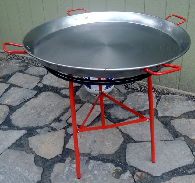 empty, huge paella pan for Summer Seafood Paella recipe