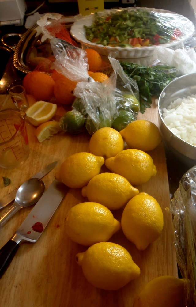 prep ingredients for summer Seafood Paella recipe