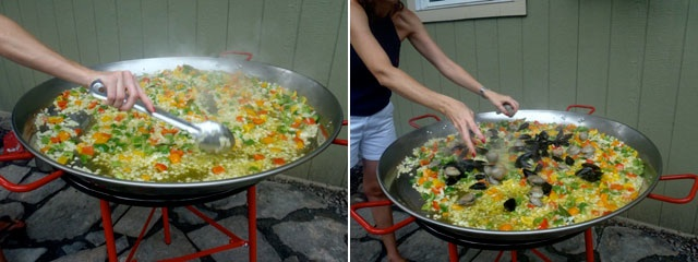 summer Seafood Paella recipe being made in a huge paella pan