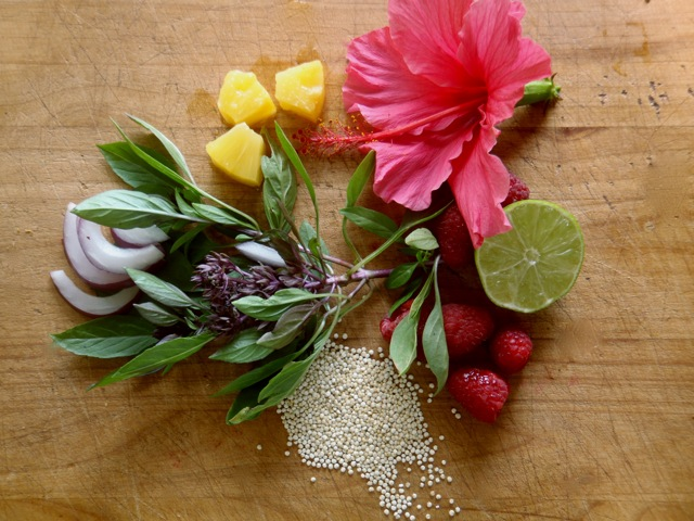 ingredients for Pineapple Quinoa Berry Salad With Shrimp