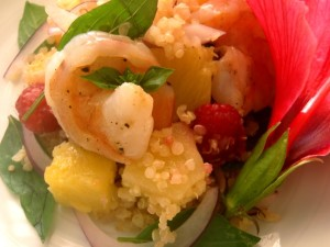 Friday Flowers: Hibiscus and Pineapple-Quinoa Berry Salad With Shrimp