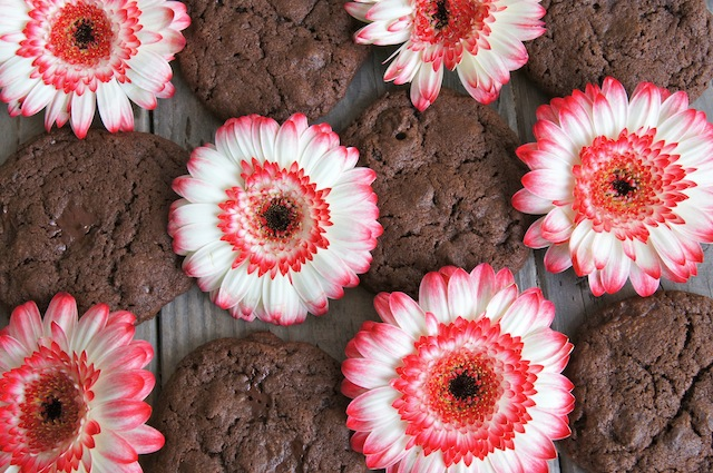 Double Chocolate, Double Espresso Cookies with pink and white Gerbera Daisies