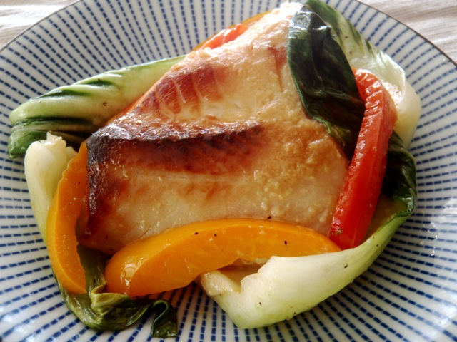 Miso Marinated Black Cod on blue and white plate