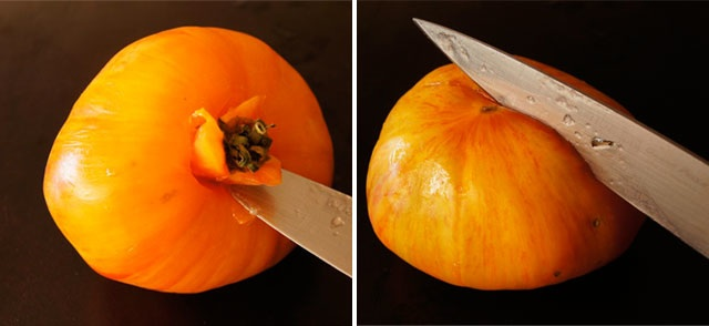 parking knife removing stem from tomato and slicing X on the bottom
