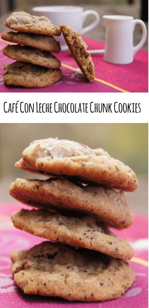 two images of café con leche chocolte chunk cookies and title