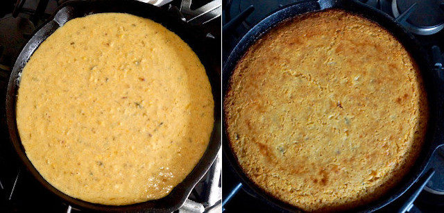 two images of cast iron skillet with cornbread batter and baked