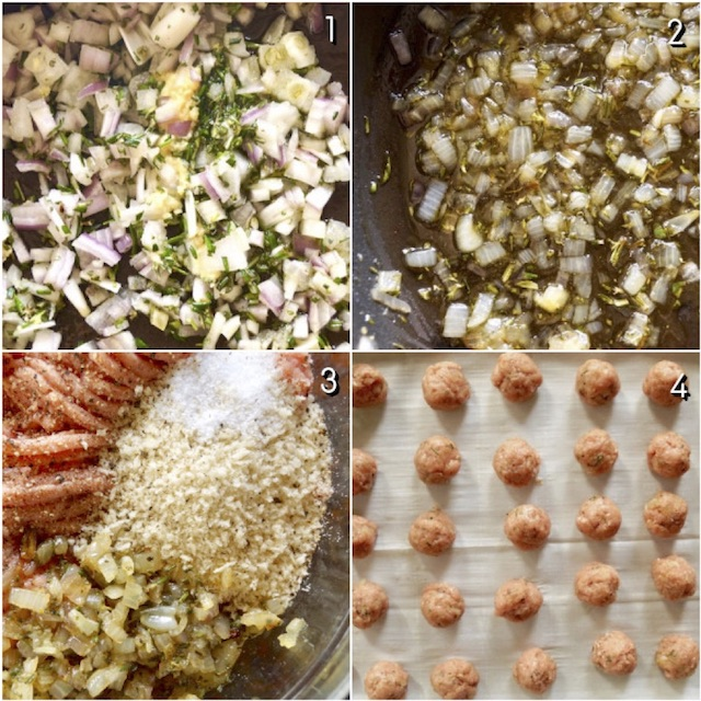 4 images showing the steps of making rosemary turkey meatballs with honey