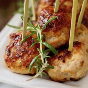 close up of rosemary turkey meatballs