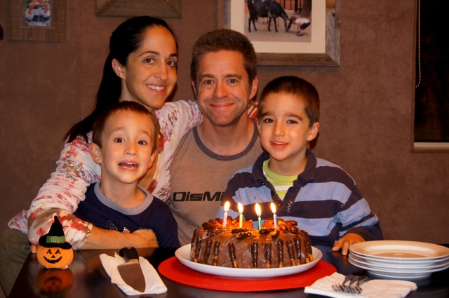 Valentina and her family with the Chocolate Peanut Butter Pretzel Ice-Cream Cake.