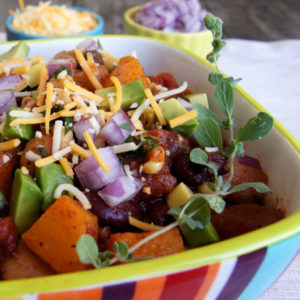 Rainbow stirped bowl with Roasted Butternut Squash Vegetarian Chili