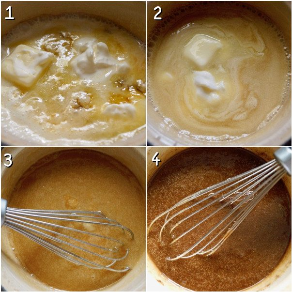 adding cream and butter to caramel