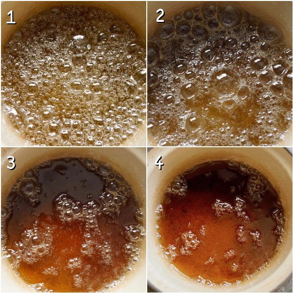 4 images of making caramel in a cream-colored pot