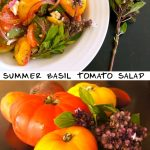 tomato salad and whole yellow and red tomatoes