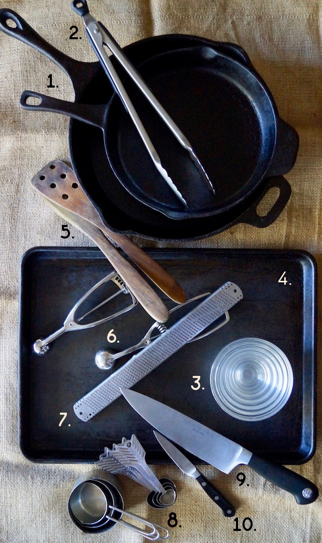 10 essential cooking tools, numbered and on a burlap cloth