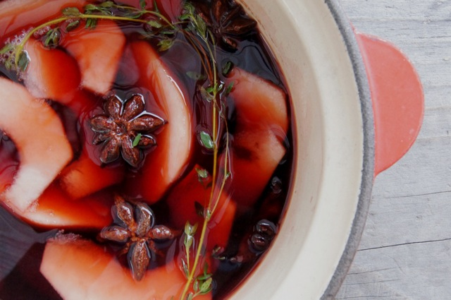 Brûléed Port Wine Poached Pears