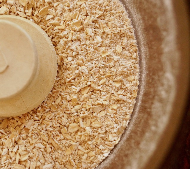 food processor with oats inside