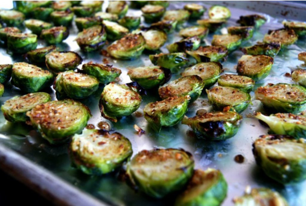 Burssels sprouts halved and on a sheet pan