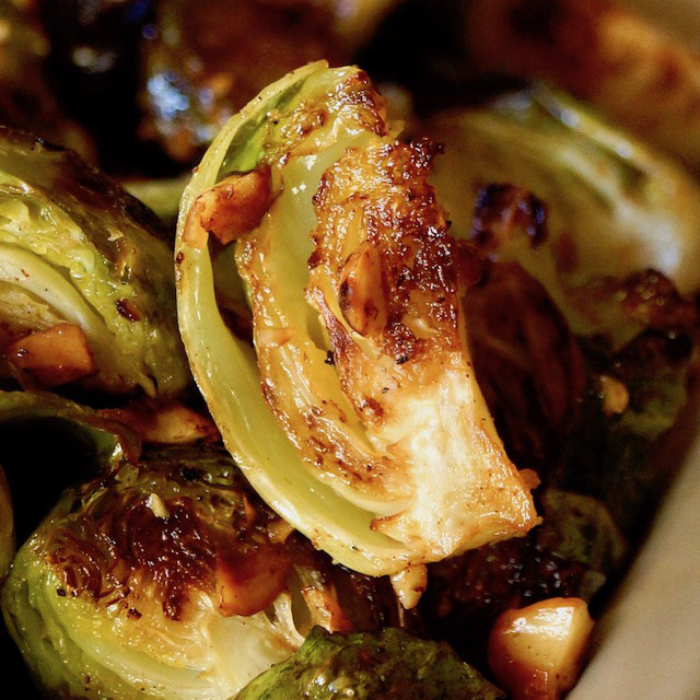 Close up of quartered brown butter brussels sprout