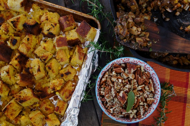 Cornbread Stuffing with Sherried Mushroom Sauté